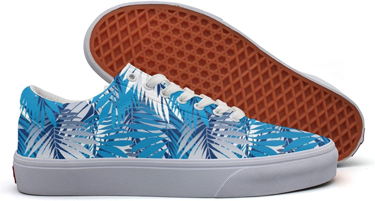 Charmarm bluee Palm Leaves Women Comfortable Low Top Canvas Slip-ons shoes