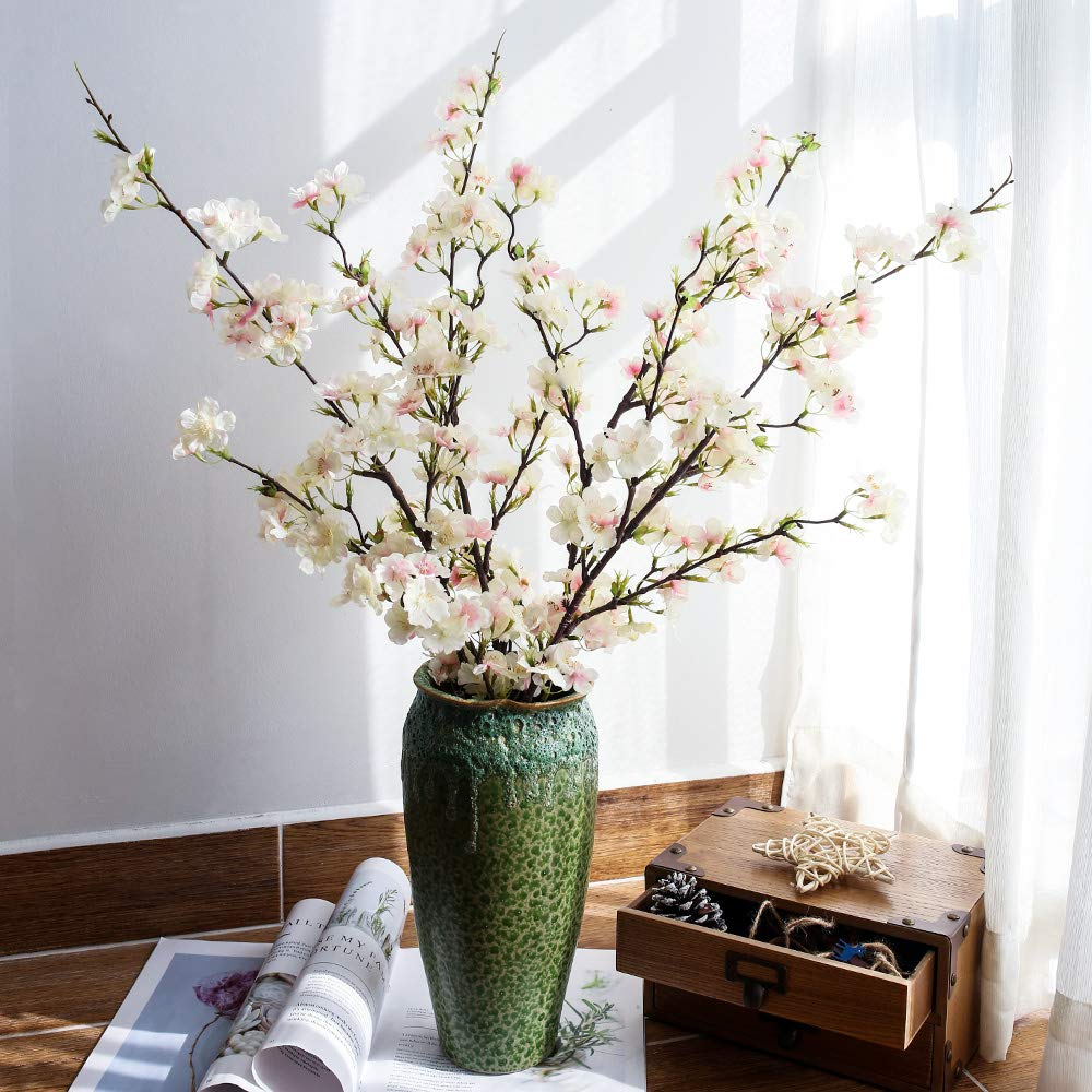 YUYAO Artificial Cherry Blossom Flowers 4pcs Peach Branches Silk Tall Fake Flower Arrangements for Home & Silk Flower Floor Vases: Amazon.com