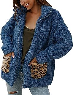 Fossen MuRope Abrigos Mujer Invierno Felpa de Leopardo, Sudaderas sin Capucha Rebecas Casual Pullover Suéter Parkas de Man...