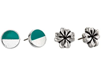 Alex and Ani Color Infusion Studs Earrings, Set of 2 (Silver/Four Leaf Clover) Earring