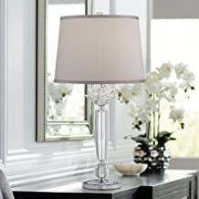 Olivia Modern Table Lamp Crystal Flower Gray Fabric Drum Shade for Living Room Bedroom Bedside Nightstand Office Family - Vienna Full Spectrum