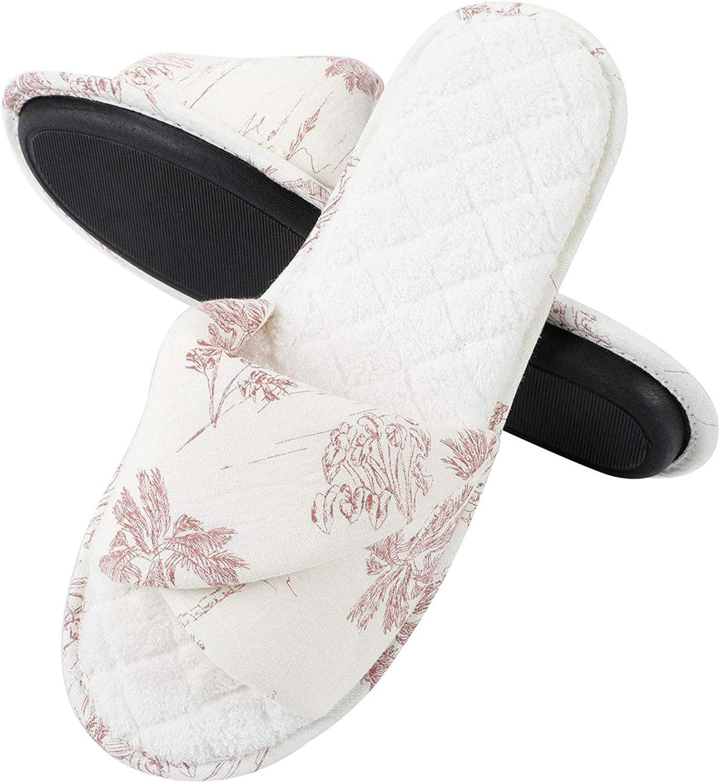 Slippers for Women Spring Flowers Patten Slide Slippers Memory Foam House Slippers Indoor Outdoor Women Slippers