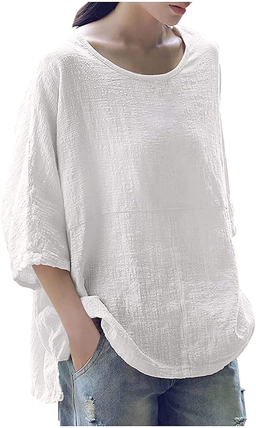 Women Summer Plus Size Blouse 3/4 Sleeve Tops Casual Loose T Shirts Solid Color Pullover Crew Neck Side Split Tunic