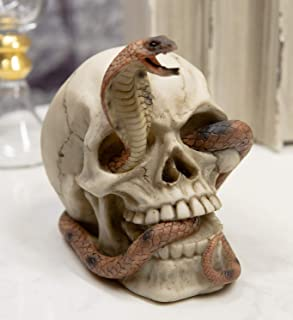 """Ebros Gift Egyptian Uraeus Cobra Skull Figurine 4.5""""L Pharaoh Diadem Skeleton Sculpture"""