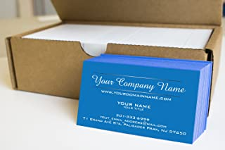 Simple Custom Premium Business Cards 500 pcs- Two Line Design, Blue Front, White Back, Made in The USA