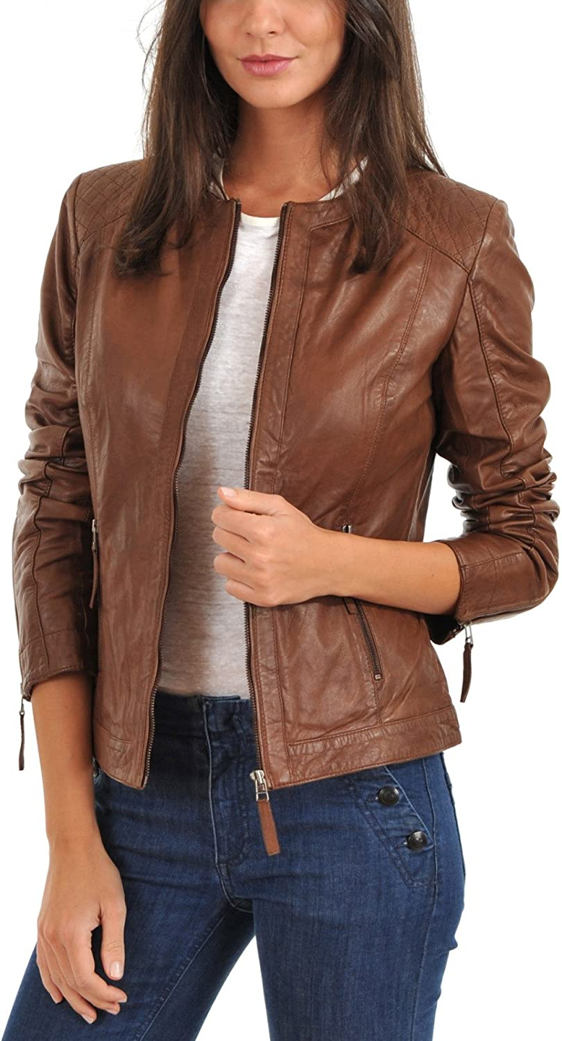Leather Jacket Womens Biker Jacket Lambskin Brown Leather