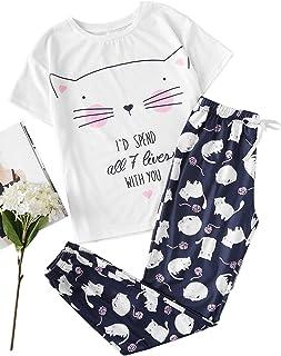 SheIn Women's Cute Cat Print Short Sleeve Tee with Pants Pajama Set