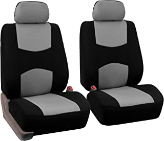 FH Group Universal Fit Flat Cloth Pair Bucket Seat Cover, (Gray/Black) (FH-FB050102, Fit Most Car, Truck, Suv, or Van)
