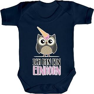 ShirtStreet süße Geschenkidee Unicorn Eis Ice Cream Strampler Bio Baumwoll Baby Body kurzarm Jungen Mädchen Eule - Ich bin ein Einhorn