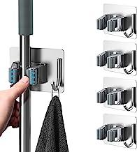 HOMEASY Mop Houder 4 stuks bezemhouder zelfklevend roestvrij staal apparaathouder organizer voor keuken badkamer tuin (zil...