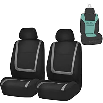 Black-Gray SUV Truck or Van Fit Most Car Full Set Flat Cloth Fbric Seat Covers Breathable Front Cover with 2 Detachable Headrests Separated Back Seat Cover Big Ant Car Seat Covers