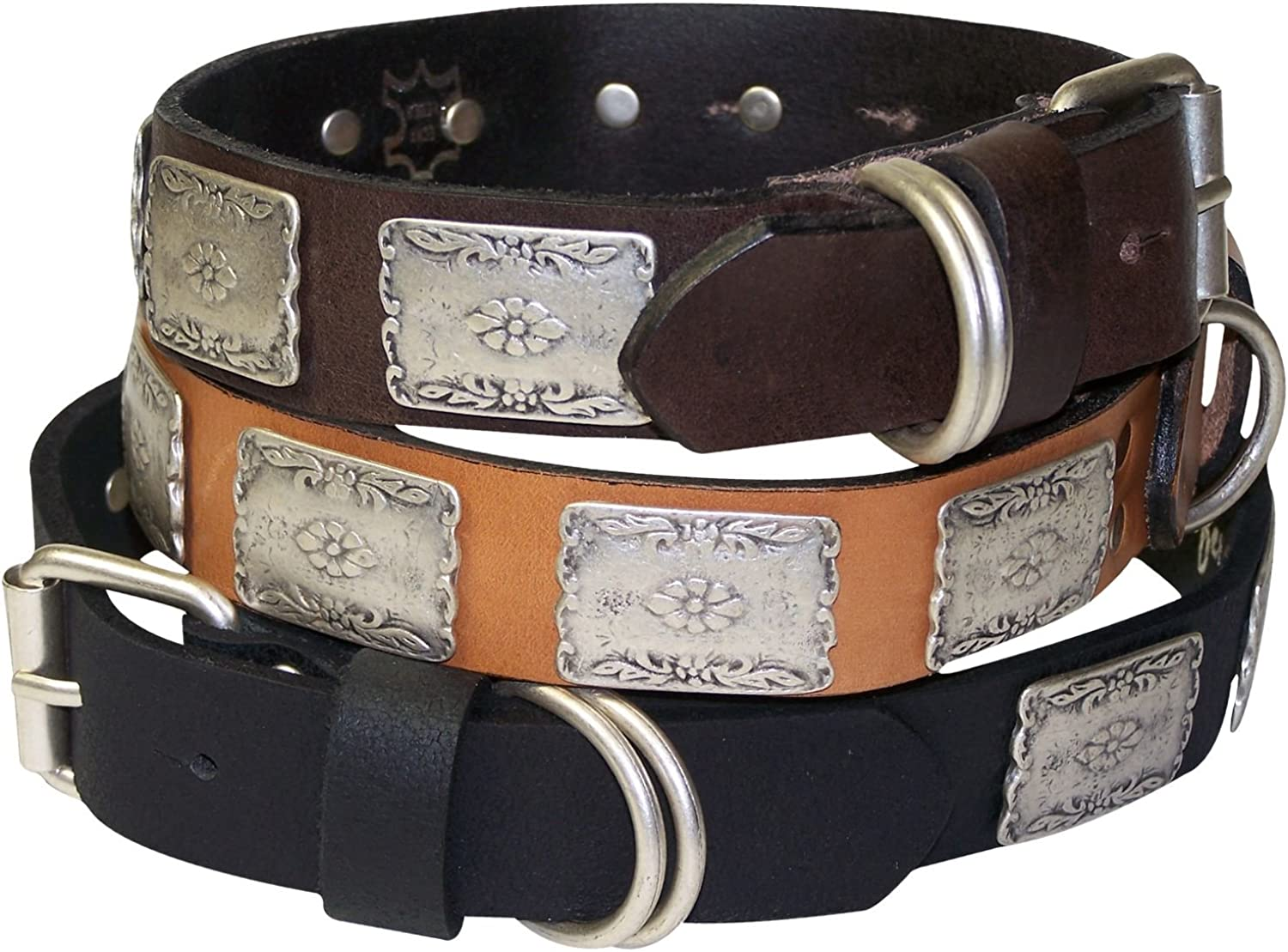 Fronhofer Dog collar, natural leather, Westernstyle antique silver details, color Brown, Size XL neck 21.624.4 (5562 cm)