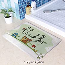 SCOXIXI Living Room Bedroom Carpet Thicken Non-Slip Mat Chubby Little Birds Owl Worm and Sparrow and Flowers with Thank You Quote Art for Home Hotel Cafe Restaurant Area Rugs.W19.6xL31.5(inch)