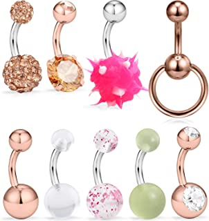 SCERRING 9PCS 14G 6mm 1/4 Inch 316L Surgical Steel Belly Button Rings Belly Earring CZ Navel Ring Barbell Body Piercing