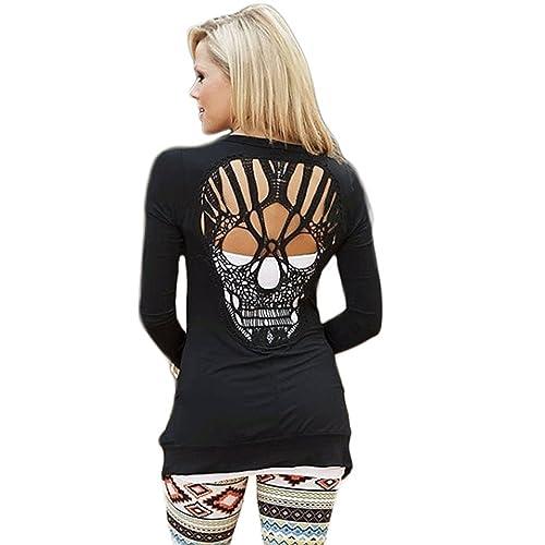 d76b81480ea WLLW Womens Long Sleeve Open Front Back Cut Out Skull Cardigan Tops