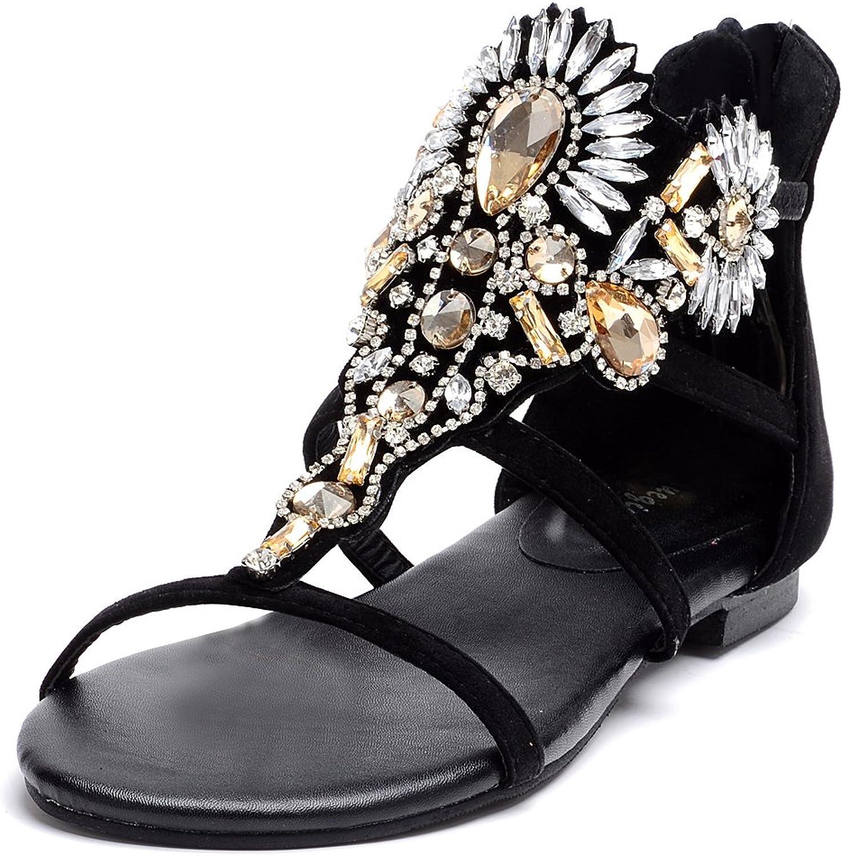 Odema Womens Metallic Beaded Rhinestone Roman Gladiator Thong Sandals Flat shoes