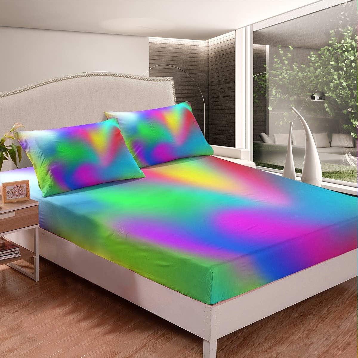 5☆大好評 Boho Psychedelic Bedding Set for 新作送料無料 Tie-Dye Colorful F Adults Girls