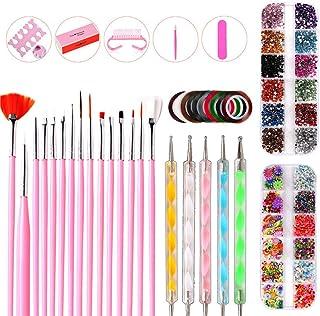 43PCS Nail Art Kit DIY Painting Polishing Design Kit Nail Striping Tape Dotting Pen Glitter Rhinestones Art Sponges Pick-u...