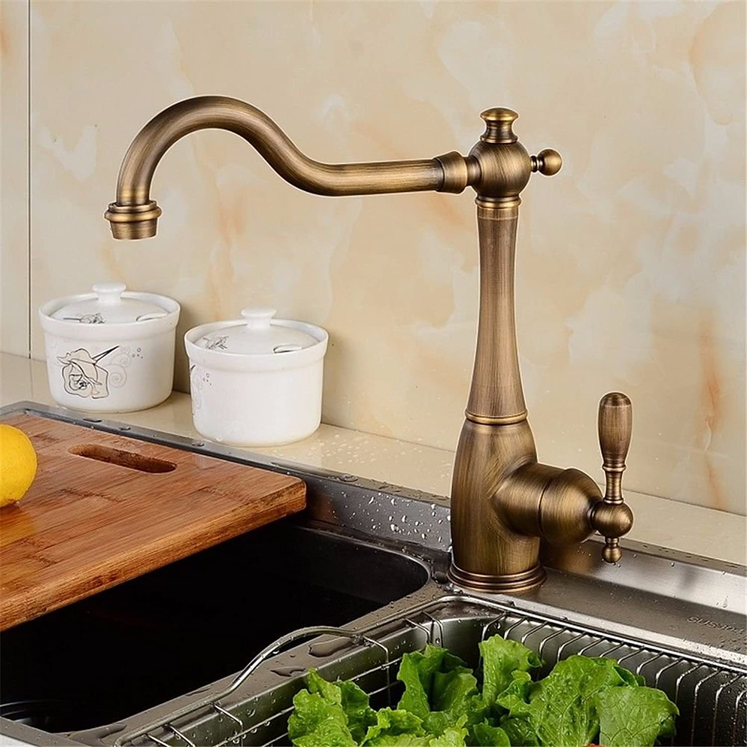 Commercial Single Lever Pull Down Kitchen Sink Faucet Brass Constructed Polished Copper Faucet Hot and Cold Water Kitchen Sink Faucet redating Classical European Faucet