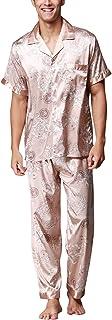 Dolamen Mens Pyjamas Set Satin, Mens Silky Soft Spring Summer Retro Printing Pyjamas Nightwear, Short Sleeve Bottoms, Chec...