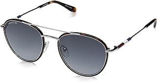 Lacoste Men's L102snd Metal Oval Novak Djokovic Capsule Collection Sunglasses, Silver, 51 mm