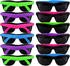 Neon Sunglasses 80's Party | 12 Pack | Retro Wayfarer Style Shades | Party Pack Favors for Goody Bags, Graduations, Birthdays | Photo Booths, Bachelorette, Bachelor Parties | Adults – Kids Assorted