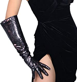 Genuine Leather Long Gloves 20-inch Wide Sleeves Metallic Black Shiny Lizard Skin Print Sexy Women Gloves