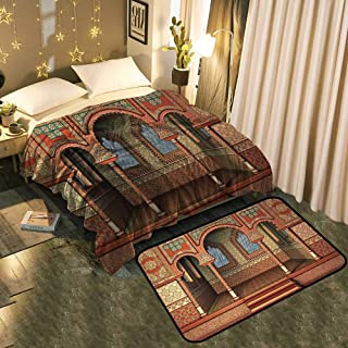 """TableCovers&Home Premium Fluffy Fleece Blanket and Large Classical Carpet Set Add Fashion to Room's Decor Blanket 30""""x50""""/Mat 17""""x13"""""""