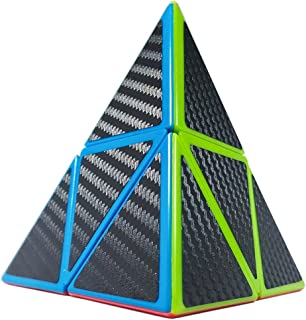 willking Pyramid Cube, Carbon Fiber Pyraminx Speed Cube 2x2 Triangle Cube Twisty Puzzle Toy for Kids' Intelligence Development