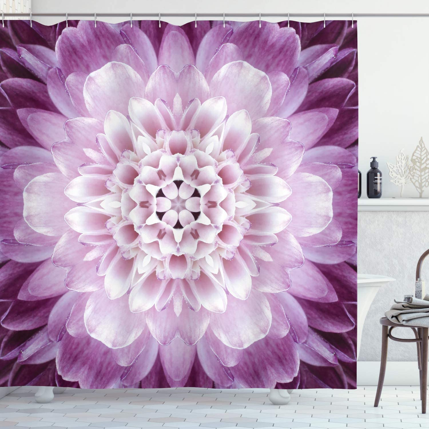 Ambesonne Flower Shower Curtain Close-up of a High quality Popular standard Chrysanthem Image