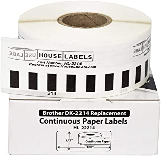 "HOUSELABELS Compatible DK-2214 Replacement Roll for Brother QL Label Printers; Continuous Length Labels; 1/2"" 100 feet (12..."
