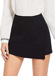 SheIn Women's Casual Asymetric Hem Wrap Skirts Shorts Plain Skorts