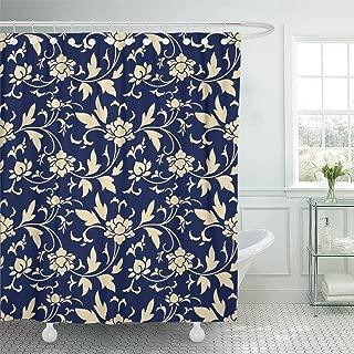 Emvency Decorative Shower Curtain Baroque Retro Navy Blue Botanic Garden Flower Vine Chintz Vintage Abstract Antique 66