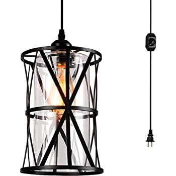 HMVPL Farmhouse Swag Lights with Plug in Cord and On/Off Dimmer Switch, Transitional Hanging Pendant Lamps with Clear Glass Lampshade for Dining Room Bedroom Foyer Hallway Kitchen Island