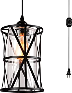 HMVPL Swag Lights with Plug in Cord and On/Off Dimmer Switch, New Transitional Hanging Pendant Lamps with Clear Glass Lampshade for Dining Room, Bed Room