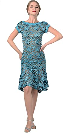 0d23913698 Stretch Lace Argentine Tango Dress - V Back High Low Dress - Sexy Milonga  Dress With
