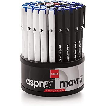 Cello Aspro Mavro Ball Pen Set (Bulk Pack of 50 Pens with Stand)