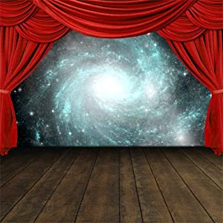 GoEoo 8x8ft Red Curtain Stage Backdrop Brown Wood Plank Floor Theater Arena Abstract Nebula Background for Photos Video Drape Wallpaper Kids Children Adults Photo Studio Props