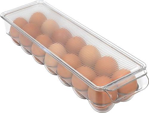 Greenco - Huevera apilable para nevera con tapa, almacena 14 huevos, transparente
