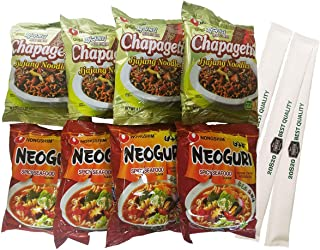 20S20 Chapaguri Set - Nongshim Chppagetti Chajang-soybean saurse and Neoguri Noodles-Seafood-flavored sauces -8 bags (with 20S20 Chopstick 3 pack)
