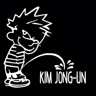 Calvin Peeing On Kim Jong-Un Decal, Calvin Pee On Kim Jung Un Sticker, Funny Car Stickers (H 6 By L 6 Inches, White)