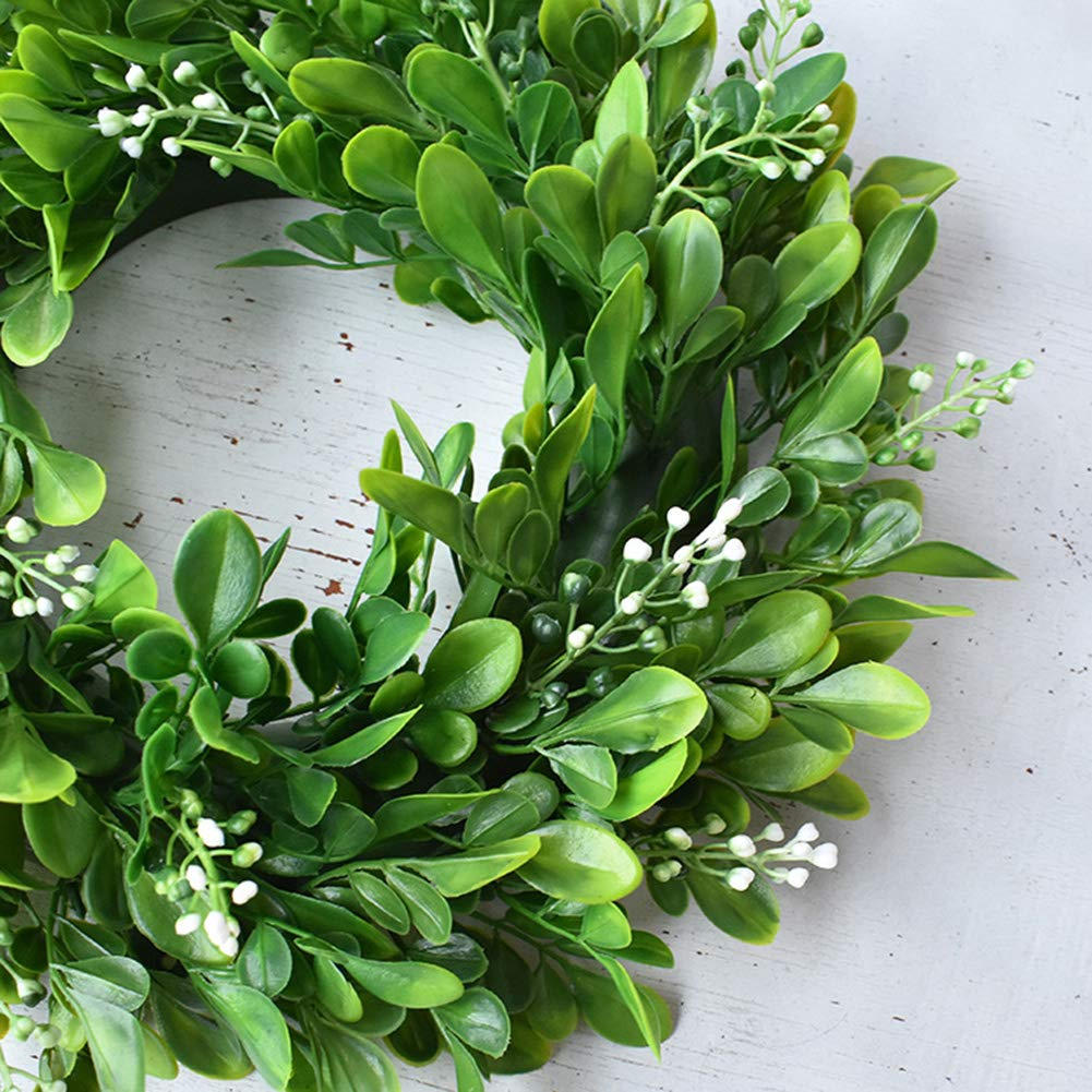 Simulation Green Plant Garland Home Office Decor Artificial Boxwood Wreath Leaf Wreath for Front Door Wall Window Party Decor,Indoor//Outdoor Use NszzJixo9 Artificial Flower Plant Wreath