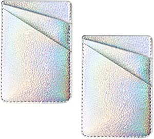 uCOLOR Two Pack Phone Card Holder PU Leather Iridescent Silver Wallet Pocket Credit Card ID Case Pouch 3M Adhesive Sticker on Phone Samsung Galaxy Android Smartphones(fit for 4.7