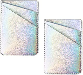 Two Pack Phone Card Holder uCOLOR Iridescent Silver PU Leather Wallet Pocket Credit Card ID Case Pouch 3M Adhesive Sticker on Smartphones(fit for 4.7