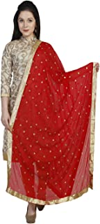 Dupatta Bazaar Women's Chiffon Dupatta with golden Embroidery