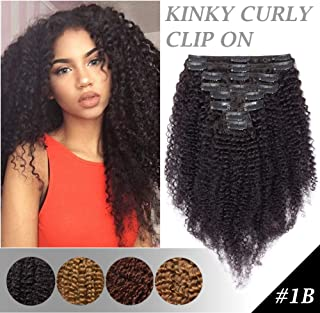 Afro Kinky Curly Clip In Human Hair Extensions for African American Black Women Double Weft 3B-3C Coil Clip On Thick Brazilian Hair 14 inch Natural Black #1B 8pcs 18 Clip ins 14