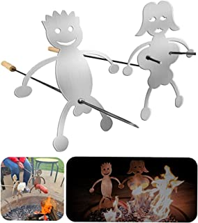 2 Pieces Hot Dog BBQ Skewers Accessories, Funny Men Women Shaped Stainless Steel Campfire Roasting Stick, Novelty Reusable Metal Forks for Bonfire, No Stick Included (Men and Women Silver)