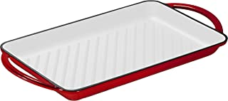 "Enameled Cast-Iron Rectangular Grill Pan, Loop Handles, 9.5"" x 13.5"" Fire Red (Fire Red)"
