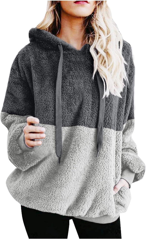 VEKDONE Women Sherpa Pullover Fuzzy Fleece Sweatshirt Tie Dye Color Block Oversized Hoodie Jumper Coat