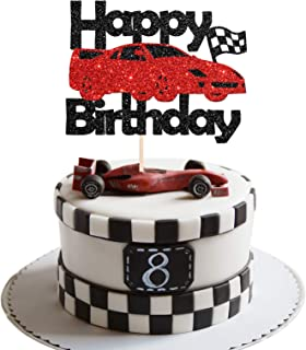 Maicaiffe Black Glittle Racing Car Theme Birthday Cake Topper - Checkered Flag Racing Theme Party Decor - Baby Shower / Bi...